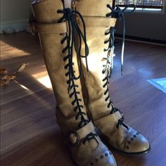 """Steam Punk Boots by Hades size 7 Copper heeled zippered 17"""" boots. Great condition (1 tack missing on end of left boot) Hades Shoes Lace Up Boots"""