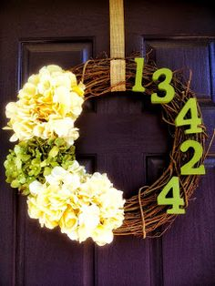 DIY wreath on purple front door
