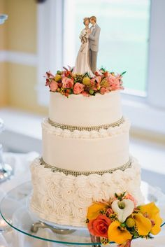 Tiered White Wedding Cake With Wildflowers   Once Upon A Click https://www.theknot.com/marketplace/once-upon-a-click-calera-al-871693   Rosewood