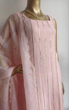 Buy Blush Pink Handwork Kurta and Patiala Set Online – LabelKanupriya Indian Fashion Dresses, Dress Indian Style, Indian Designer Outfits, Indian Wear, Indian Outfits, Indian Dresses For Women, Stylish Dress Designs, Designs For Dresses, Stylish Dresses
