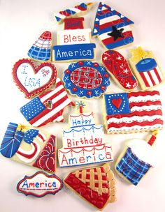 CookieCrazie: Patriotic/Military--LOTS of decorated sugar cookies on this website. Mestel Mestel Berry , start a July collection now? Blue Cookies, Summer Cookies, Fancy Cookies, Cut Out Cookies, Royal Icing Cookies, Holiday Cookies, Cupcake Cookies, Cupcakes, Cookie Frosting