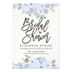 Bridal Shower Elegant Light Blue Watercolor Floral Card - elegant wedding gifts diy accessories ideas