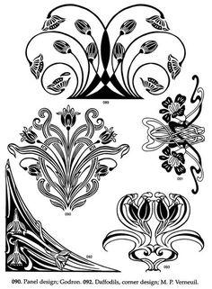 New art nouveau motif floral ideas Motifs Art Nouveau, Design Art Nouveau, Motif Art Deco, Bijoux Art Nouveau, Art Nouveau Pattern, Tattoo Fleur, Art Nouveau Tattoo, Jugendstil Design, Art Nouveau Illustration