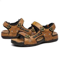 b6859b72ea17 Mode sommer top kvalitet udendørs strand sandaler mænd ægte læder europa  stil mandlige sandaler åndbar rejse sko w2