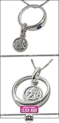 Clever - Juego de colgante y cadena barbada de plata 925 con forma de anillo con zafiro y ángel, 34 cm  ✿ Joyas para niñas - Regalos ✿ ▬► Ver oferta: http://comprar.io/goto/B016VH6P6I
