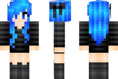 minecraft skins | PixeledMe Minecraft | Electric Blue Hair Minecraft Skin