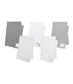 Bee Essentials Set of 5 Burp Cloths: Color - Heather Grey