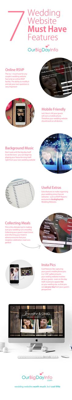 7 must haves features for every wedding website. OurBigDayInfo has these wonderful features and lots more! Wedding Website, Elegant Wedding, Create