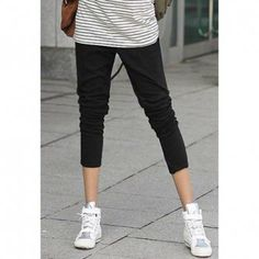 Slim and Leisure Long Harem Pants For Women, BLACK, FREE SIZE in Pants & Shorts | DressLily.com