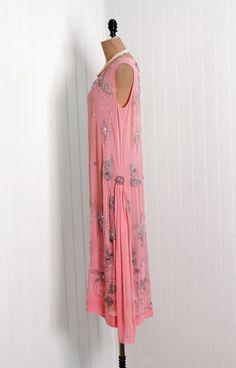1920's Baby-Pink Beaded Jeweled Crepe Chiffon Flapper Dress