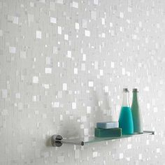 Spa Tile Wallpaper - Bathroom Wall Coverings by Graham Brown Wallpaper Bathroom Walls, Bathroom Wall Coverings, Bathroom Accent Wall, Bathroom Accents, Metallic Wallpaper, Embossed Wallpaper, Bathroom Wallpaper, Pastel Wallpaper, Textured Wallpaper