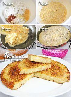 Tavada Pratik Patates Böreği Tarifi      2-3 adet büyük boy bostan patlıcanı (kızartmak için, sıvı yağ).  Tavuklu harcı için;      1 adet tavuk göğüs eti,     1 adet soğan,     2 adet yeşil biber,     1 adet kırmızı kapya biber,     2 adet domates,     1 yemek kaşığı salça,     Tuz,     Pul biber,     Kekik,     2 yemek kaşığı sıvı yağ.  Sosu için;      1-1 buçuk su bardağı su,     1 yemek kaşığı salça,     Tuz.  Üzeri için;      Domates dilimi.