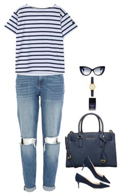 """Preppy in Navy"" by miki006 ❤ liked on Polyvore featuring River Island, MICHAEL Michael Kors, Butter London, Kate Spade, Jonathan Saunders and Jimmy Choo"