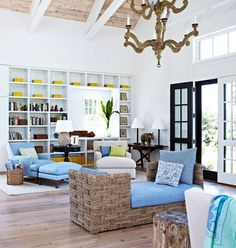 Love the exposed beams in white... something to think about for the living room