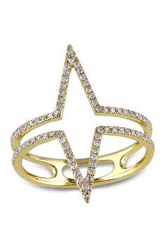 14K Yellow Gold Diamond Spike Ring - 0.29 ctw on @HauteLook