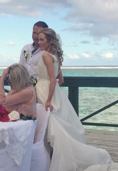 The end of one of the best weeks celebrating my sister Liz's wedding to James in Rarotonga ❤️  Here's a snapshot of the ceremony with Lizzy looking gorgeous in her Makenzie dress x x | View Look Book at http://www.carolinecampion.com/collection/lookbook-15/  #CampionCouture