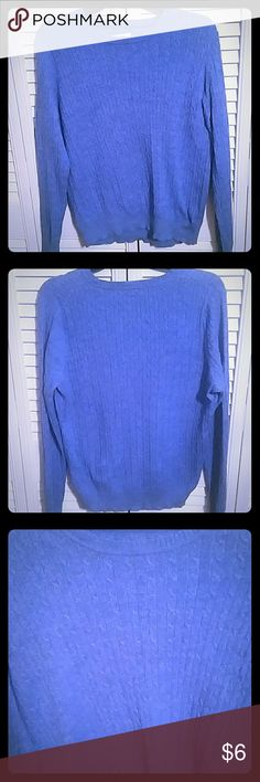 Kim Rogers  Sweater Kim Rogers Cable Knit Blue Sweater XLP 100% cotton Kim Rogers Sweaters