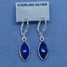 Simple Blue Lapis Lazuli Sterling Silver Earrings Leverbacks