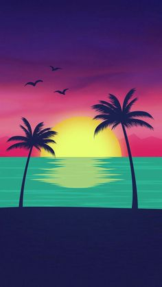 Discovered by Azeneth Martinez. Find images and videos about beach, tree and palm trees on We Heart It - the app to get lost in what you love. Chill Wallpaper, Neon Wallpaper, Beach Wallpaper, Summer Wallpaper, Scenery Wallpaper, Nature Wallpaper, Mobile Wallpaper, Kids Canvas Art, Small Canvas Art