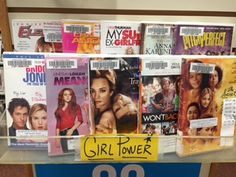 Movies display: Girl Power at the Plainville Public Library, MA