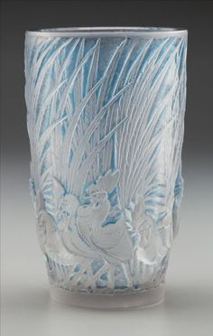 Art Glass:Lalique, R. Lalique Frosted Glass Coqs et Plumes Vase with BluePatina. Circa 1928. Wheel carved R. LALIQUE, FRANCE. M ...