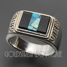 VINTAGE 925 SILVER 14K GOLD BLACK ONYX & OPAL CHIP INLAY PEBBLES SIGNET RING #Signet