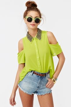 Total Stud Blouse in Lime  http://www.nastygal.com/whats%2Dnew/total%2Dstud%2Dblouse%2Dlime?utm_source=pinterest_medium=smm_campaign=pinterest_nastygal