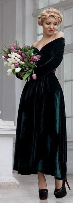 Green velvet bridesmaid dress