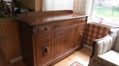 Walnut Sideboard.  Also companion china cabinet.