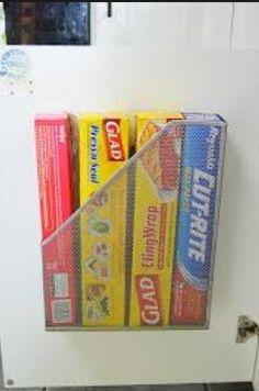 House tip #1: Magazine rack to hold tin foil, cling film, etc.