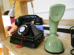 Fabulous King Pyramid Telephone & mint Green Ericofon on the Discover Vintage website