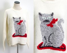 VTG 90's Fat Cat Sweater (Large) Kitschy Crazy Cat Lady White Gray Kitten Red Bow Green Eyes Long Sleeves Amazing Unique Print Cats Lady Vintage Sweater