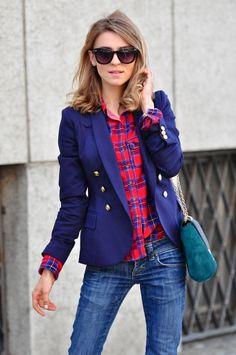Jacket, plaid and sunglasses