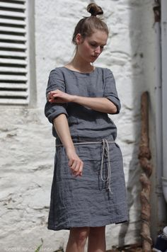 Grey Linen Dress by KnockKnockLinen on Etsy
