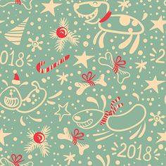 New year seamless pattern with dog, fir branches and bones. Vector background