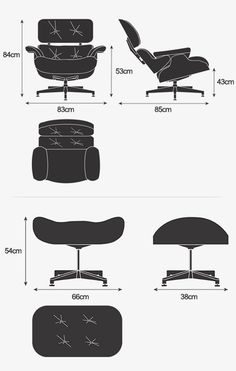"Lounge Chair and Ottoman ""exploded view"" print for sale directly from The Eames Office Charles Eames, Chair And Ottoman, Sofa Chair, Armchair, Famous Furniture Designers, Poltrona Design, Woodworking Kits, Woodworking Bench, Furniture Styles"