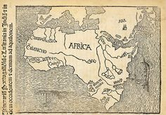 """The woodcut """"Montalboddo's Africa"""" (1508) is one of the first printed maps of Africa."""