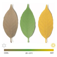 Leaf thermometer shows temperature by changing color. When the temperature is between 20 to 25°C, the leaf will stay its natural green color, but it will turn to yellow when it is higher than 25°C, and brown when lower than 20°C. Designer Hideyuki Kumagai (T3 Design) says that he wanted to feel temperature instead of looking at the numerical value, and realize the excessive energy that we are consuming.