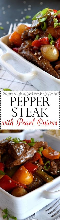 Pepper Steak with Pearl Onions ~ a classic recipe with simple, rustic ingredients...loaded with beef, peppers, and onions...all tossed in an easy gravy!