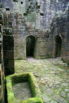 Hermitage Castle, Scotland. It was supposedly built by one Nicholas de Soulis around 1240, in a typical Norman Motte and Bailey pattern. It stayed in his family until approximately 1320, when his descendant, William de Soulis forfeited it because of suspected witchcraft and the attempted regicide of King Robert I of Scotland.