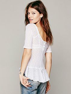Free People Scooped Button Back Peplum