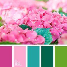 бледный розовый, зеленый, изумрудный, контрастные цвета, насыщенный розовый, оттенки розового, подбор цвета, салатовый, сочные тона, тёмно-зелёный, цвет гортензии, яркий розовый.