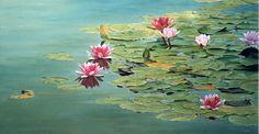 """Armando Zesatti. """"Lirios""""Acrílico sobre tela. 86x161cm. Water Lilies Painting, Pond Painting, Monet Water Lilies, Lily Painting, Lotus Art, Plaster Art, Drawing Wallpaper, Arte Floral, Landscape Art"""
