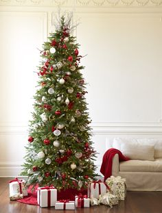 Buy Red Spruce Slim Artificial Christmas Trees Online | Balsam Hill