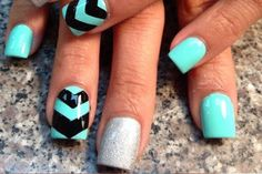 teal nail design ideas 7 chevron and silver
