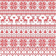 Red nordic pattern by Azazelka - Stockvectorbeeld