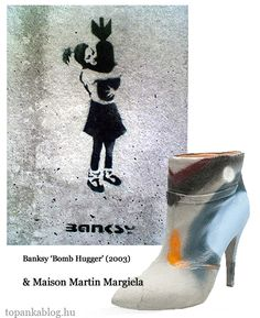 Painting by Banksy, shoes by Maison Martin Margiela