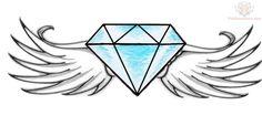 Winged Diamond Tattoo Design