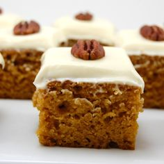 PUMPKIN APPLE BARS Ingredients  4  eggs  1 /2/3  sugar  1 c  vegetable oil (or 1/2 cup applesauce for half the oil)  1 can(s)  solid pumpkin  2 c  flour  2 tsp  baking powder  1 tsp  baking soda  2 tsp  cinnamon  1/2 tsp  nutmeg  1 tsp  salt  1 1/2 c  fresh apples,peeled,chopped and diced(fuji or gala)  CREAM CHEESE FROSTING   8  ounce cream cheese (softened)  1/2 c  butter, room tempetature  2 c  powdered sugar  1 Tbsp  cinnamon  1 Tbsp  vanilla extract