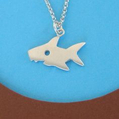 Shark Necklace Halloween Necklace sterling silver. $36.00, via Etsy.